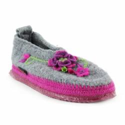 giesswein chaussons gris à fleurs