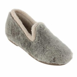 victoria chaussons fourrure taupe
