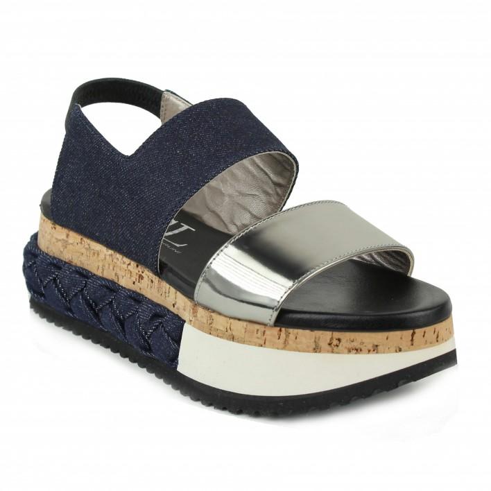 agl sandale compensée jean tressé