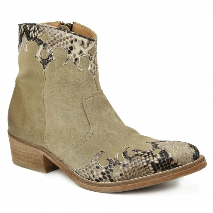 Atelier Voisin - WALLABY - Boots à détails effet python - beige