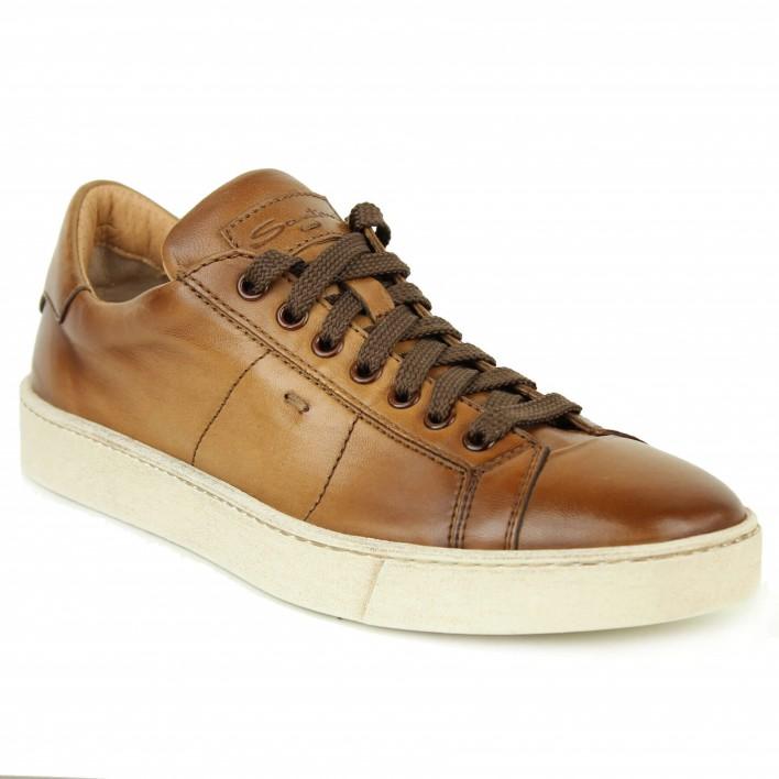santoni sneakers cuir camel