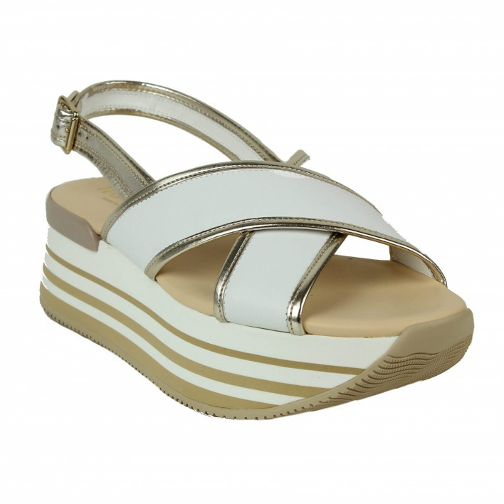 hogan sandale blanc-or