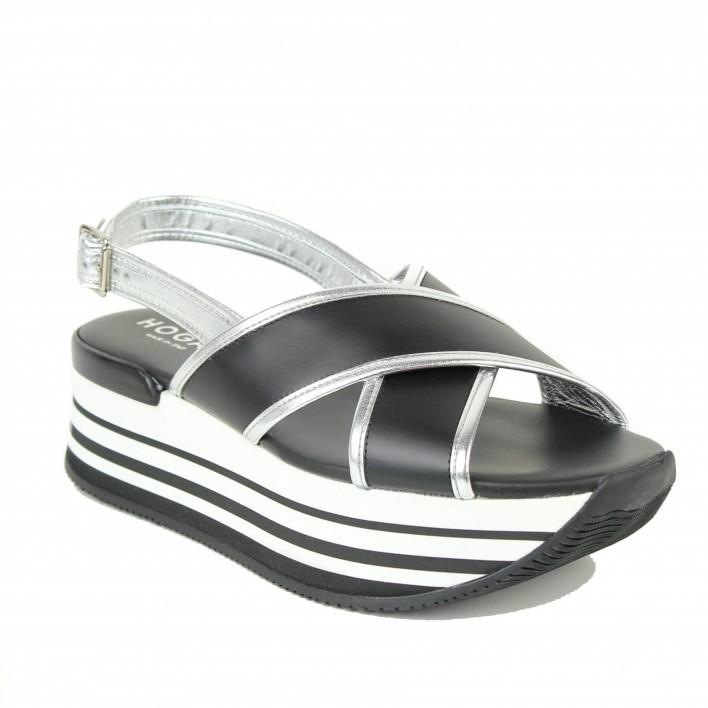 hogan sandales noires-blanches