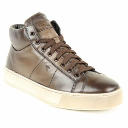 santoni sneakers cuir marron