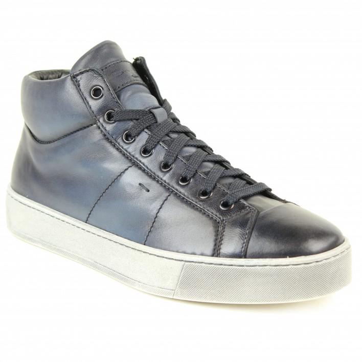 santoni sneakers cuir bleu
