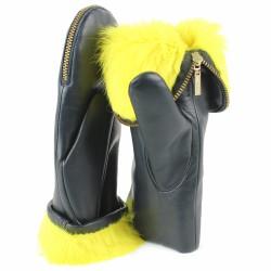 aristide moufles cuir bleu fourrées jaune