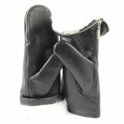 aristide moufles cuir noir fourrées blanc