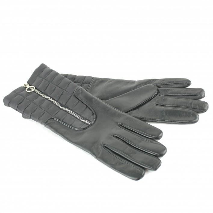 aristide gants longs cuir et tissu