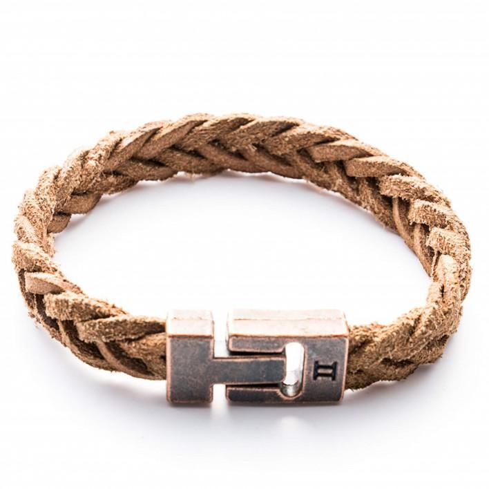 gemini bracelet cuir marron