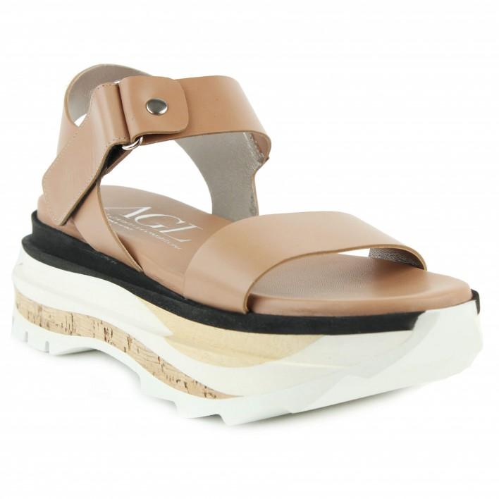 agl sandale compensée gold