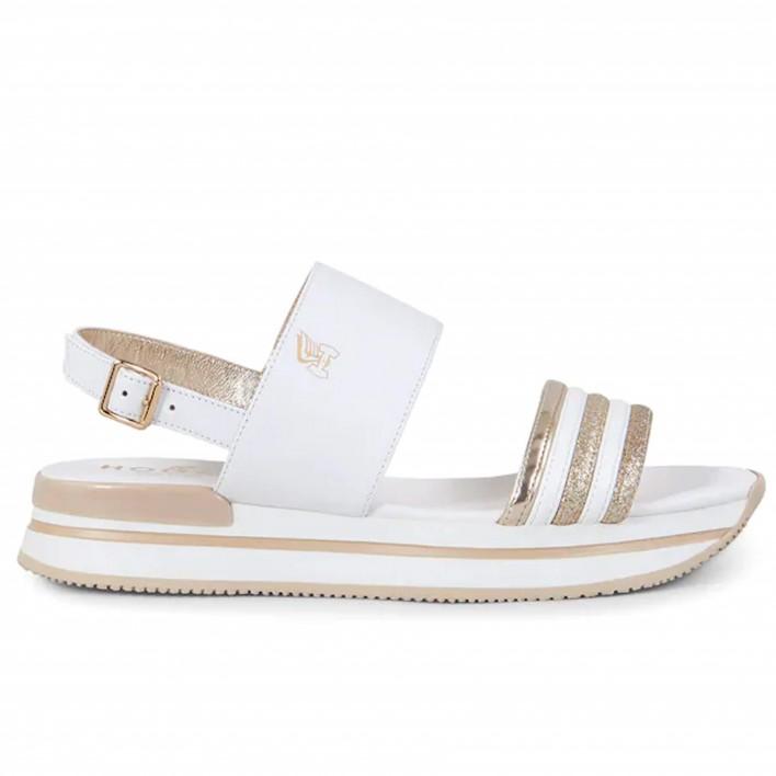 Hogan - H257_BLANC - Sandales en cuir à plateaux - blanc/or