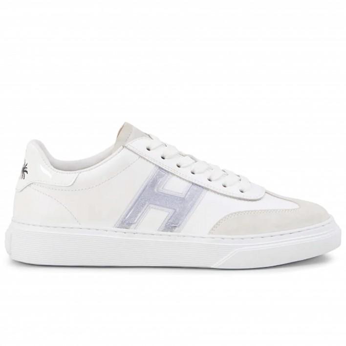 Hogan - H365 AIIACH_BLANC - Sneakers en cuir motif pailleté - blanc