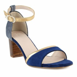 triver flight sandale bleu et or