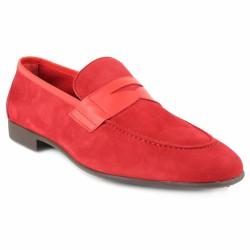 bernuci mocassin velours rouge