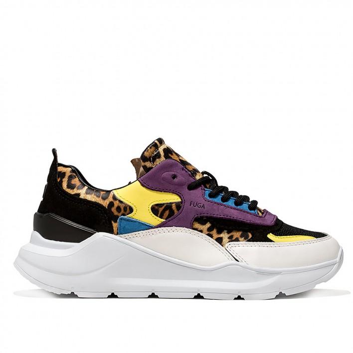 D.A.T.E - FUGA-LEO - Sneakers running motif léopard - noir
