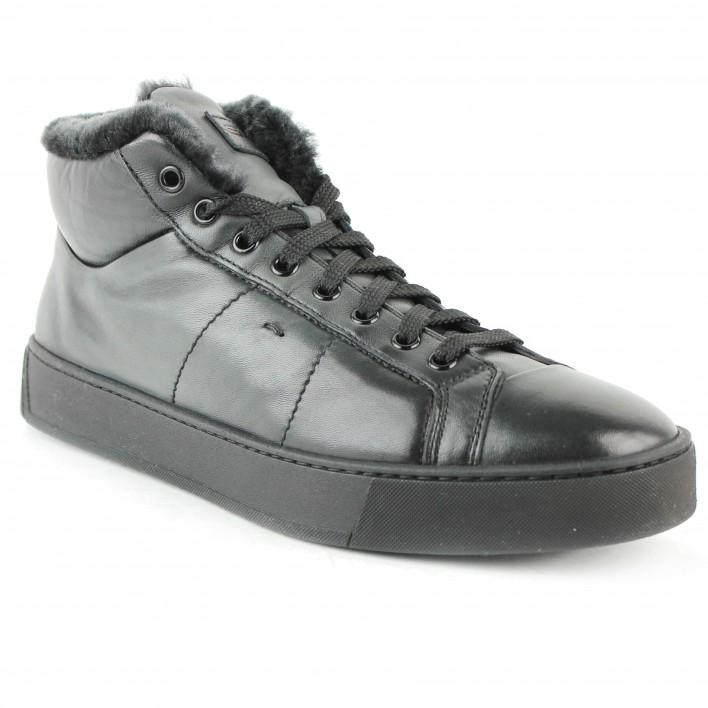 santoni sneakers fourées noires