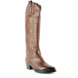 BEMOOD - Bottes cavalières style santiags effet croco - marron