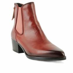 BEMOOD - Boots chelsea en cuir style santiags - rouge