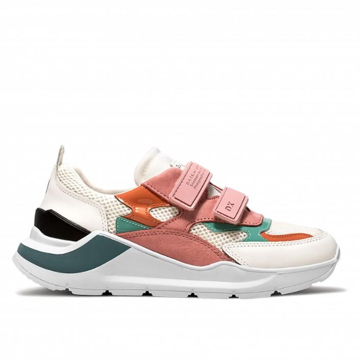 D.A.T.E - FUGA-STRAP - Sneakers running multicolores à scratch - rose/blanc