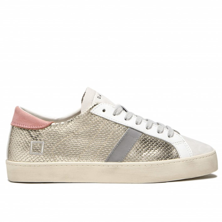 D.A.T.E - HILL LOW - Sneakers en cuir dorées effet python - or
