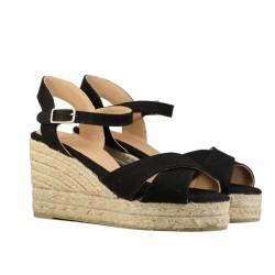 sandales veau velours compensées