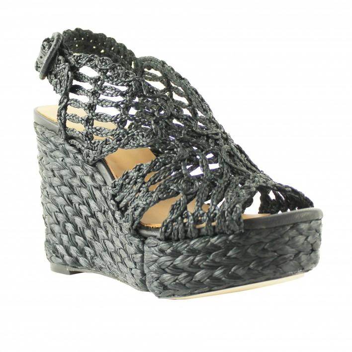 sandales compensées raphia noir