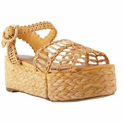 sandales à plateau raphia moutarde