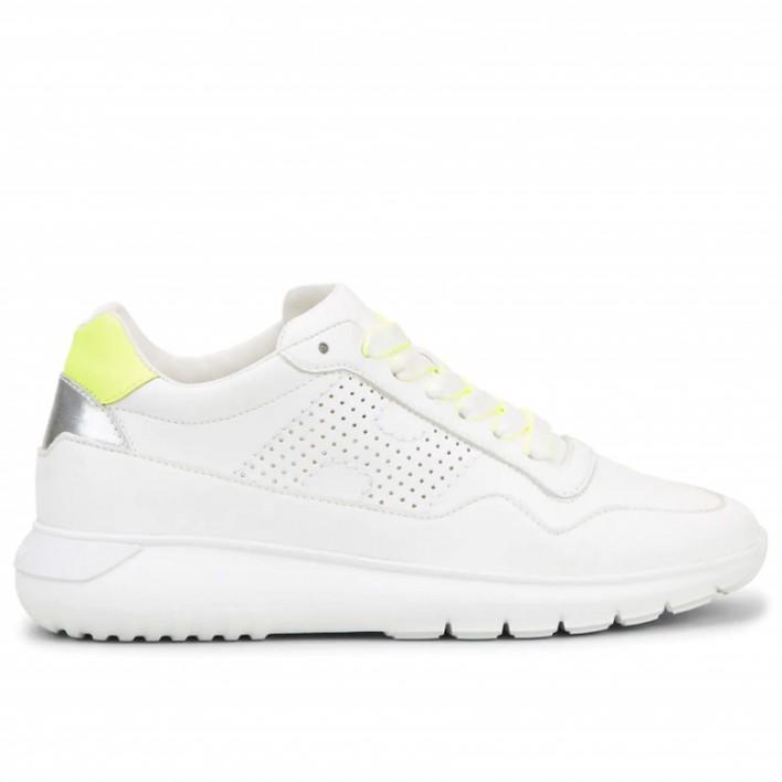 Hogan - H371-FORATA - Sneakers running en cuir à détail fluo - blanc