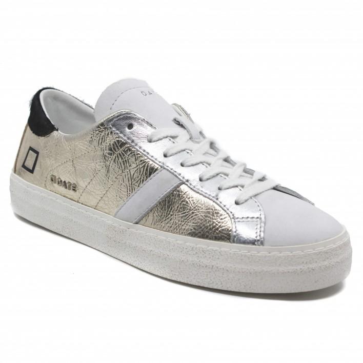 D.A.T.E - HILL LAMINATED - Sneakers en cuir effet laminé - blanc/or