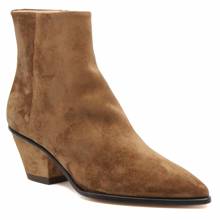 AGL - Boots style santiags en velours - cognac