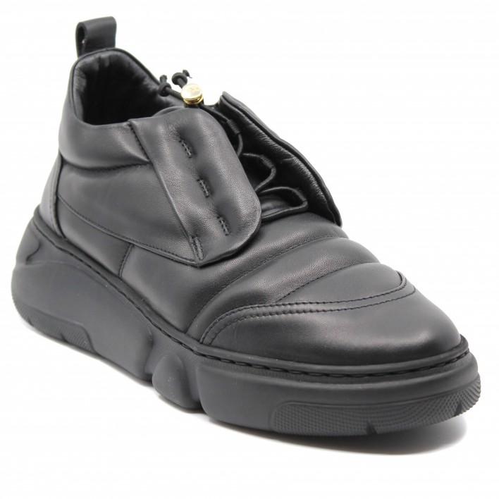 AGL - Sneakers en cuir à cordons de serrage - noir