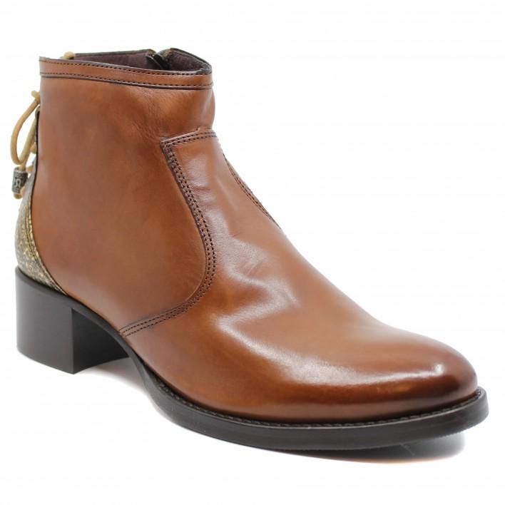 Muratti - RANSART - Boots en cuir lacées et effet python - camel