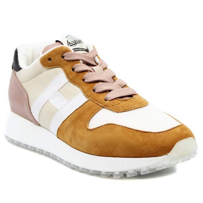 Hogan - H429 - NASTRO - Sneakers tricolores bi matière - moutarde/beige/rose