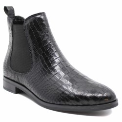 Coco et Abricot - FAILLY - Boots chelsea en cuir effet croco - noir