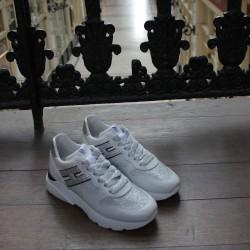Hogan - H385-ACTIV ONE - Sneakers en cuir argentées et liseré noir - blanc/noir/argent