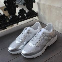 Hogan - H385-ACTIV ONE - Sneakers en cuir argentées - blanc/argent