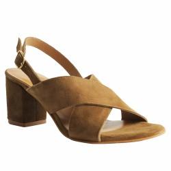 atelier tropézien sandales velours beige