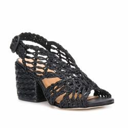 manuel barcelo sandale en raphia noir