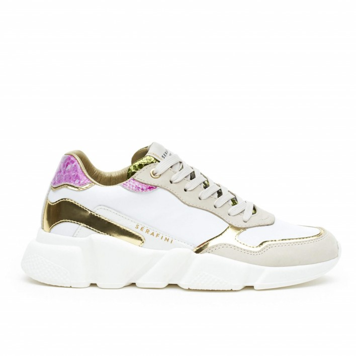 serafini sneakers blanc et or
