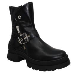 Philippe Morvan - CALK - Boots motardes zippées à boucles - noir