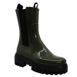 Lemon Jelly - CITY - Boots de pluie style rangers en caoutchouc - kaki